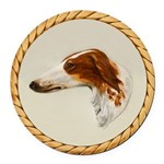 Vintage Borzoi Painting Round Round Car Magnet