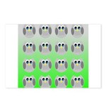 Cute Owls (Green Tiled) Postcards (Package of 8)