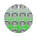 Cute Owls (Green Tiled) Ornament (Round)