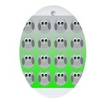 Cute Owls (Green Tiled) Ornament (Oval)