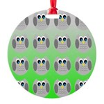 Cute Owls (Green Tiled) Ornament