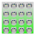 Cute Owls (Green Tiled) Square Car Magnet 3