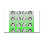 Cute Owls (Green Tiled) Rectangle Car Magnet