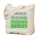 Cute Owls (Green Tiled) Tote Bag