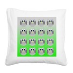 Cute Owls (Green Tiled) Square Canvas Pillow
