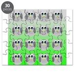 Cute Owls (Green Tiled) Puzzle