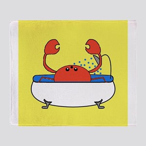 Crab in Tub (Yellow) Throw Blanket