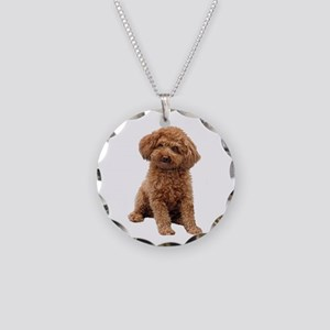 Poodle-(Apricot2) Necklace Circle Charm