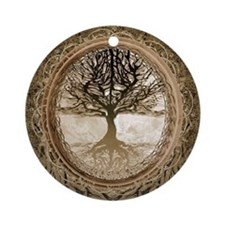 Tree of Life in Brown Ornament (Round)