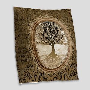 Tree of Life in Brown Burlap Throw Pillow