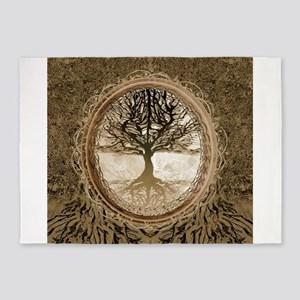 Tree of Life in Brown 5'x7'Area Rug
