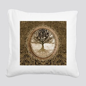 Tree of Life in Brown Square Canvas Pillow