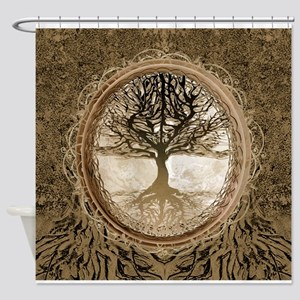 Tree Of Life In Brown Shower Curtain