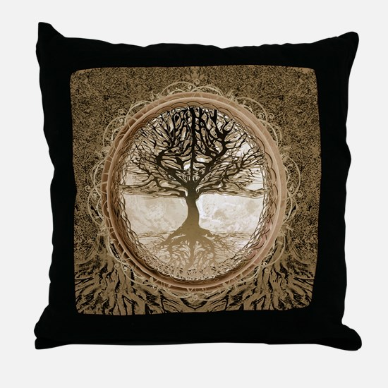 Tree of Life in Brown Throw Pillow