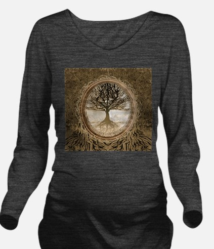 Tree of Life in Brown Long Sleeve Maternity T-Shir