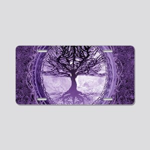 Tree of Life in Purple Aluminum License Plate