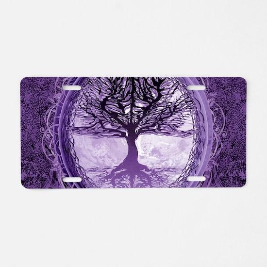Tree of Life in Purple Aluminum License Plate