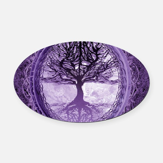 Tree of Life in Purple Oval Car Magnet