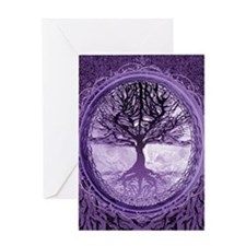 Tree of Life in Purple Greeting Cards
