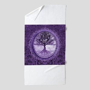 Tree of Life in Purple Beach Towel