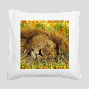 Sleeping Lion Square Canvas Pillow