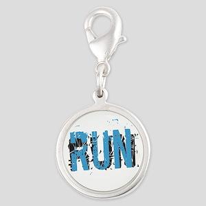 Grunge Run Charms Silver Round Charm