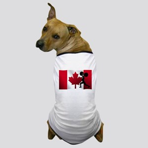 Weightlifting Canadian Flag Dog T-Shirt