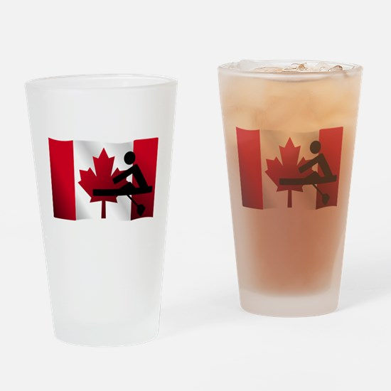 Rowing Canadian Flag Drinking Glass