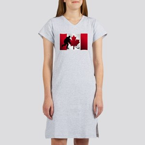Hockey Canadian Flag Women's Nightshirt