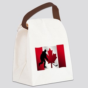 Hockey Canadian Flag Canvas Lunch Bag