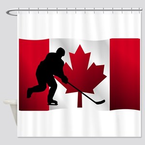 Hockey Canadian Flag Shower Curtain