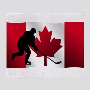 Hockey Canadian Flag Throw Blanket