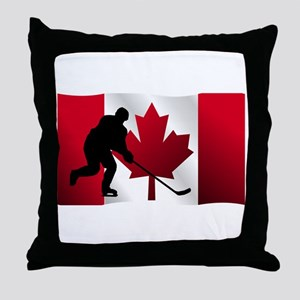 Hockey Canadian Flag Throw Pillow