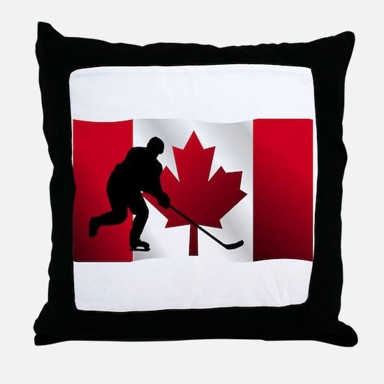 Hockey Canadian Flag Throw Pillow