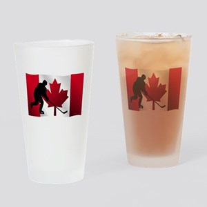 Hockey Canadian Flag Drinking Glass