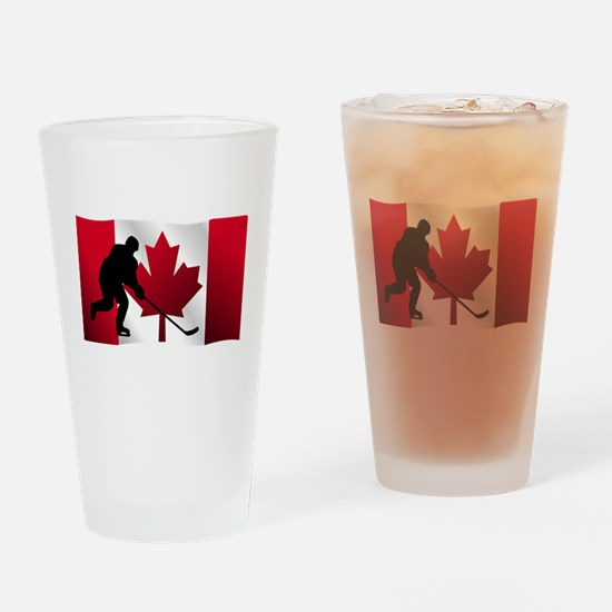 Hockey Canadian Flag Drinking Glass