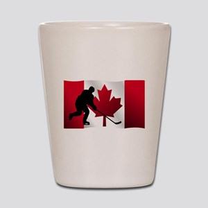 Hockey Canadian Flag Shot Glass