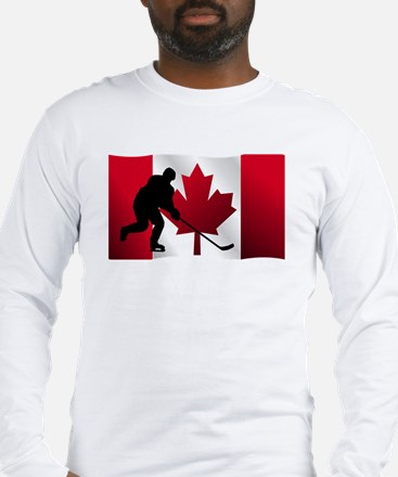 Hockey Canadian Flag Long Sleeve T-Shirt