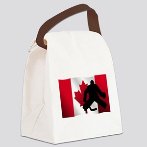 Hockey Goalie Canadian Flag Canvas Lunch Bag