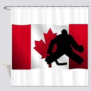 Hockey Goalie Canadian Flag Shower Curtain
