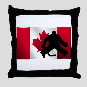 Hockey Goalie Canadian Flag Throw Pillow