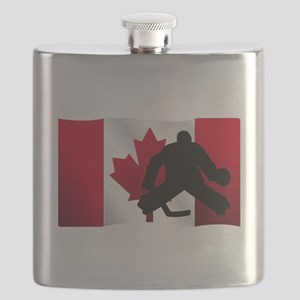 Hockey Goalie Canadian Flag Flask