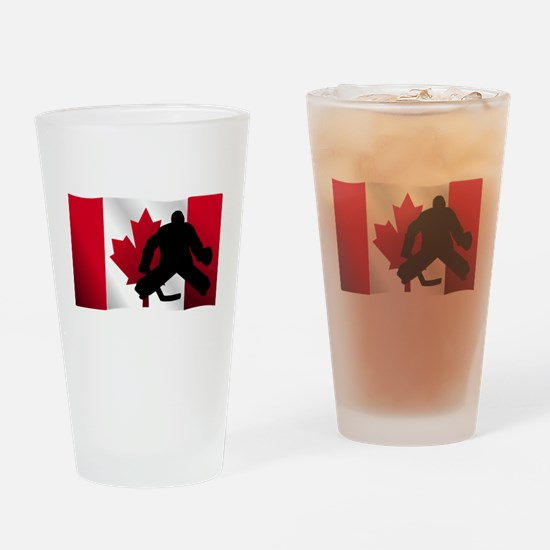 Hockey Goalie Canadian Flag Drinking Glass