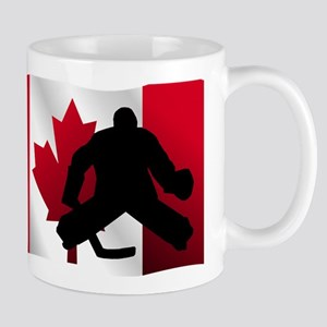 Hockey Goalie Canadian Flag Mugs