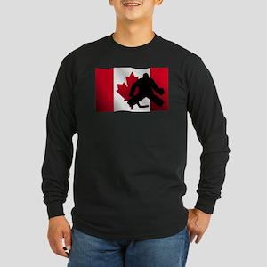 Hockey Goalie Canadian Flag Long Sleeve T-Shirt