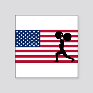 Weightlifting American Flag Sticker