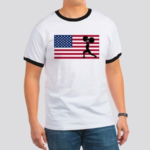 Weightlifting American Flag T-Shirt