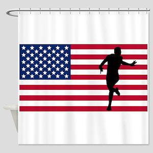Running American Flag Shower Curtain