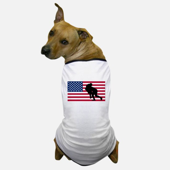Rugby Tackle American Flag Dog T-Shirt