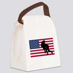 Rugby Tackle American Flag Canvas Lunch Bag